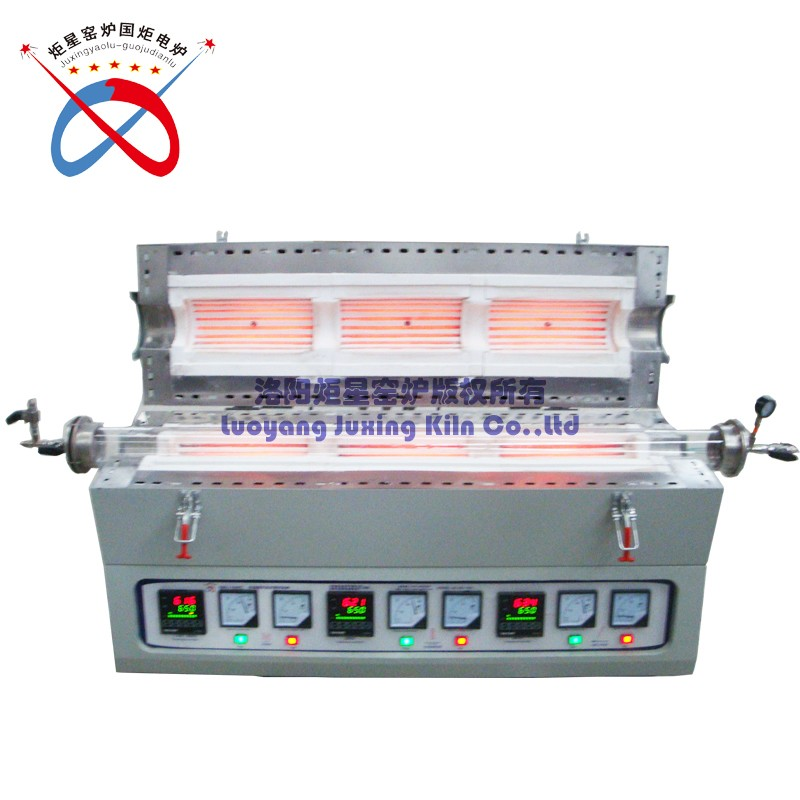 High Temperature Three Heating Zone Tube Furnace With Gas